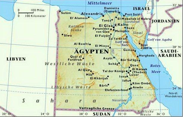 Karte Von ägypten.Karten Von ägypten Mit Straßenkarte Und Sehenswürdigkeiten