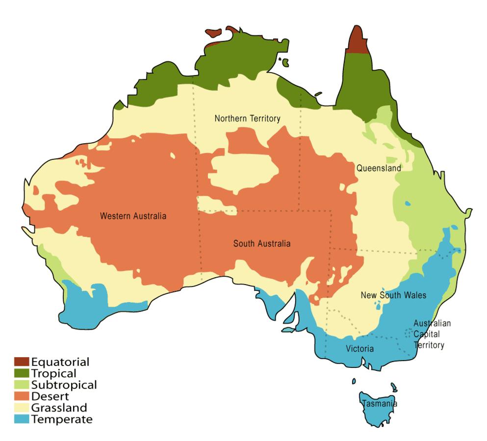 Australien Klimakarte