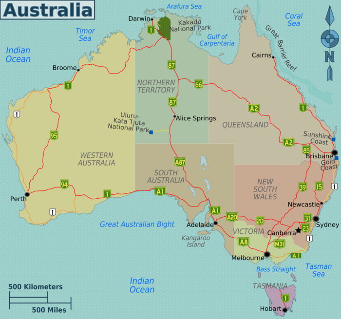 Australien Strassenkarte