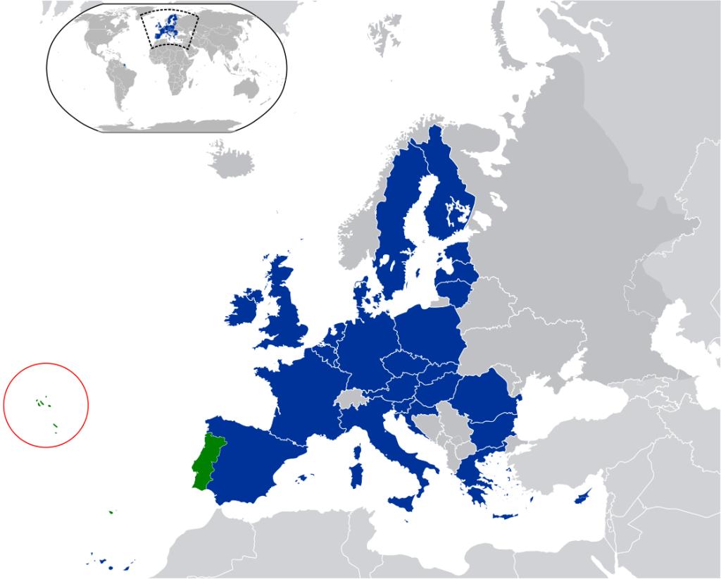 Azoren Lage innerhalb der EU