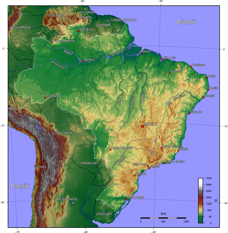 Karten von Brasilien und Rio de Janeiro Strassenkarte und ... BRASILIEN KARTE