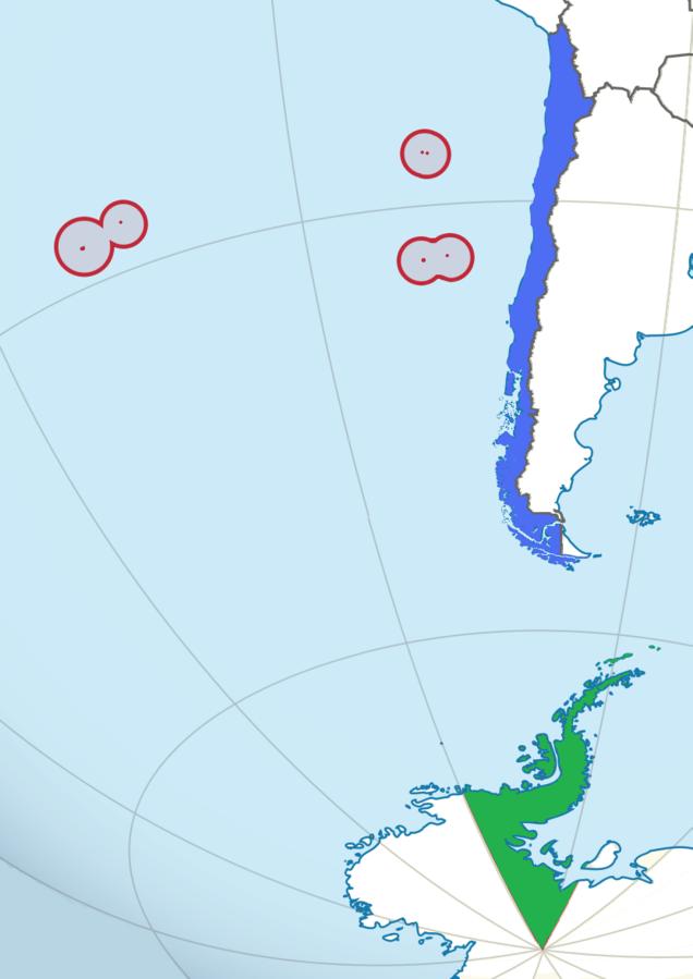 Chile Lage mit Antarktis und Inseln