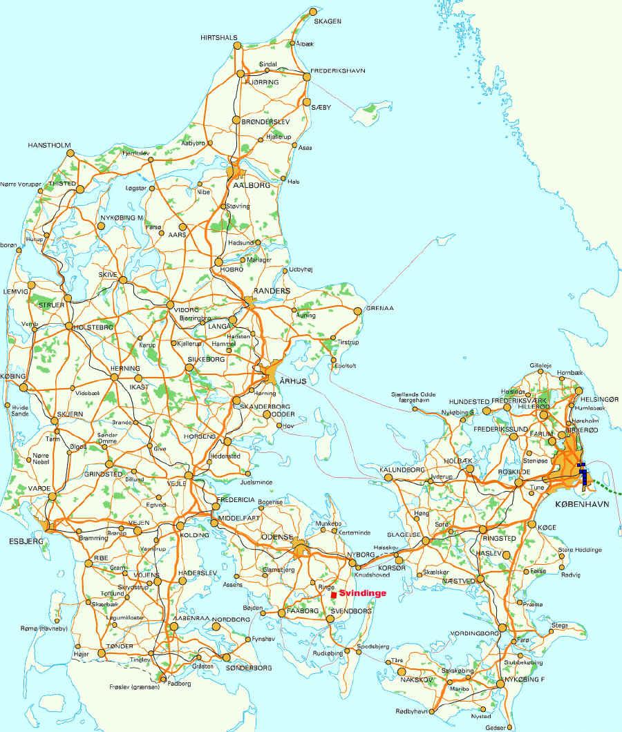 Karten Von Danemark Mit Strassenkarte Und Strandkarte