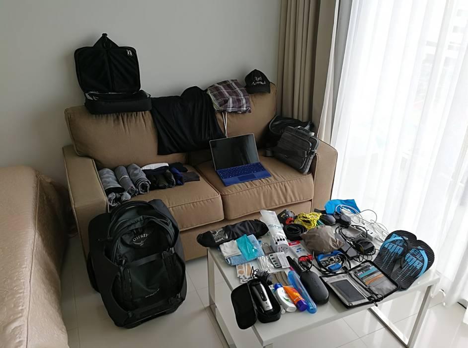 Dauerreisender Gepäck