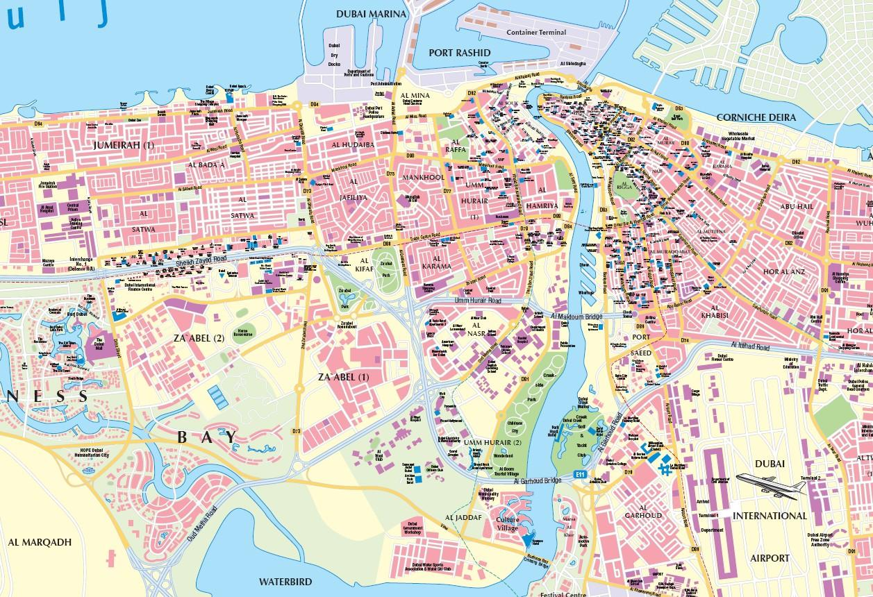 Dubai Stadt Karte
