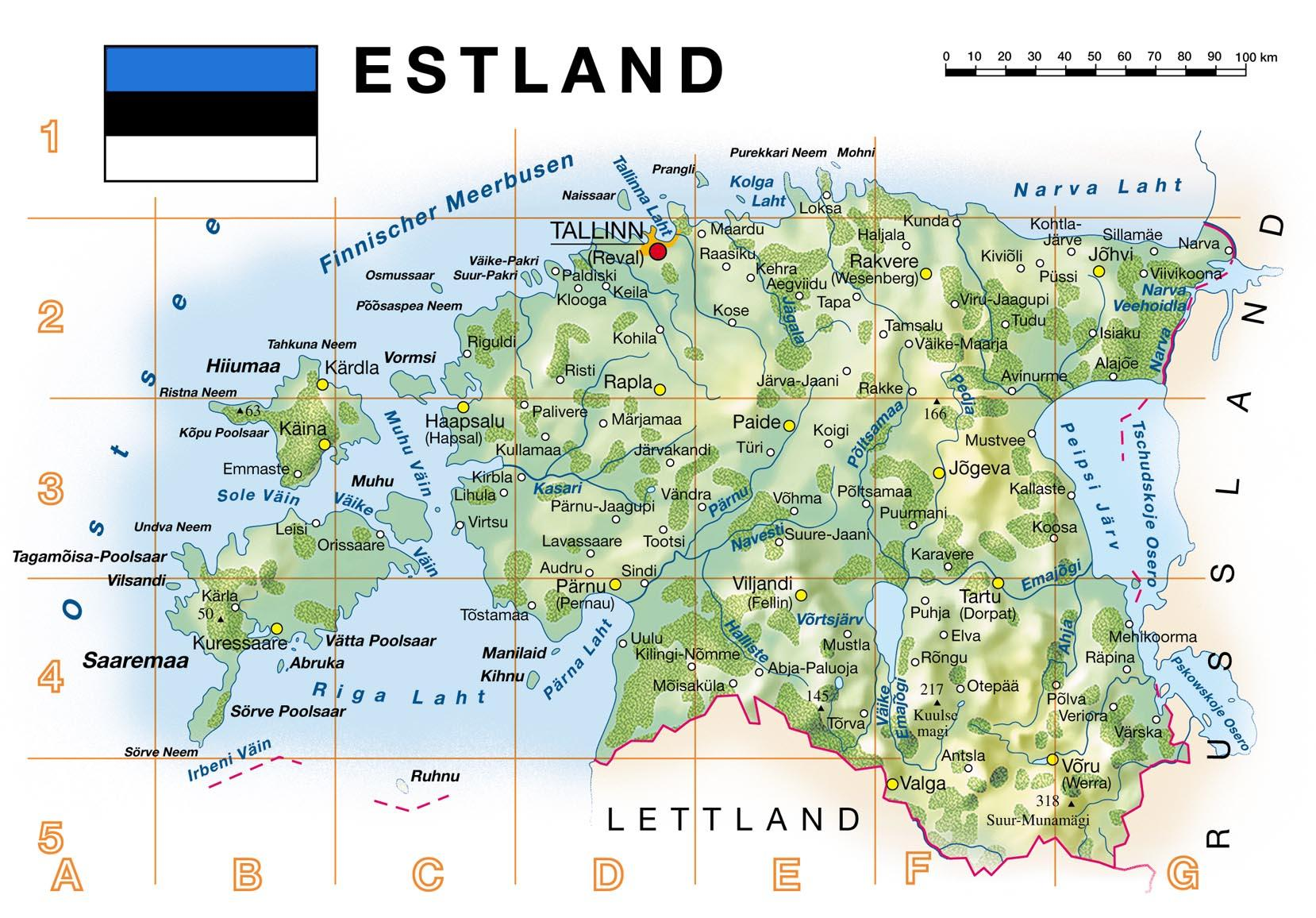 estland karte Karten von Estland mit Straßenkarte und Städten