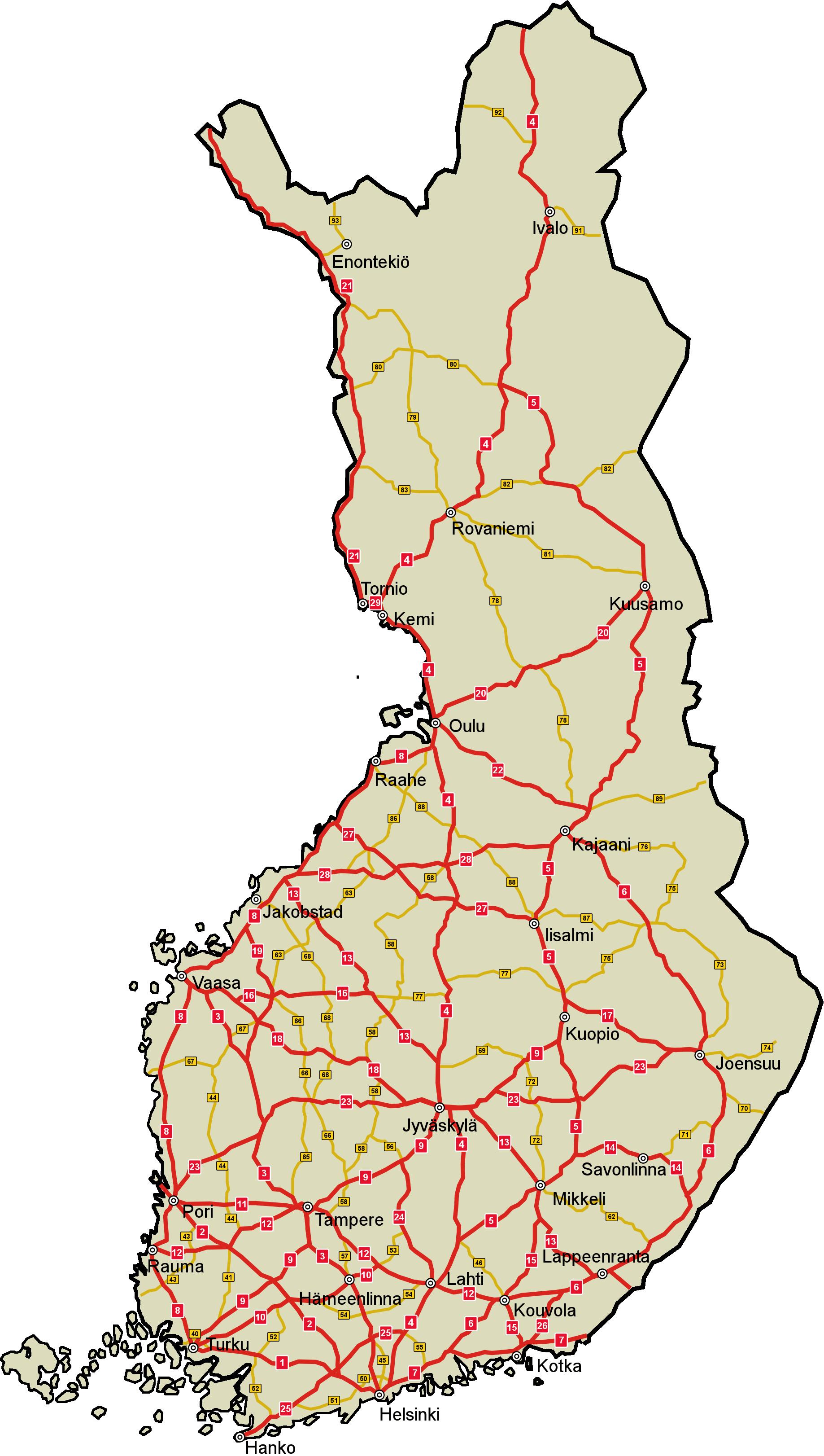 Finnland Strassenkarte