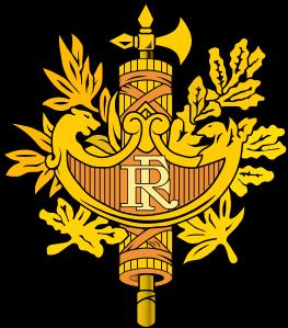 Flagge und Wappen von Frankreich