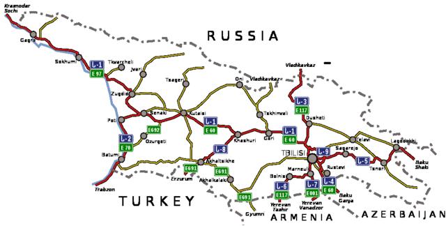 Georgien Strassenkarte