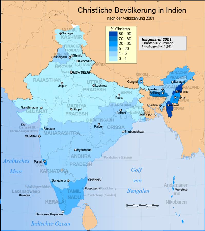 Indien Karte Verbreitung des Christentums