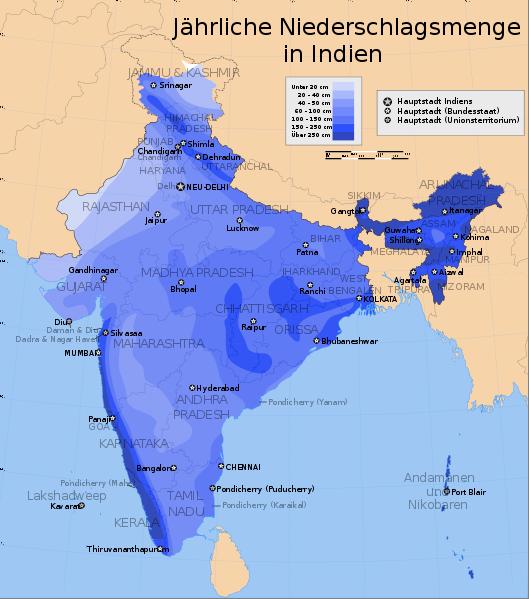 Indien Niederschlag Karte