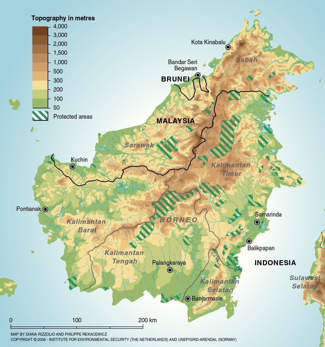 Indonesien Borneo Landkarte