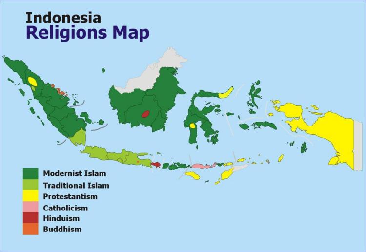 Indonesien Karte Religionen