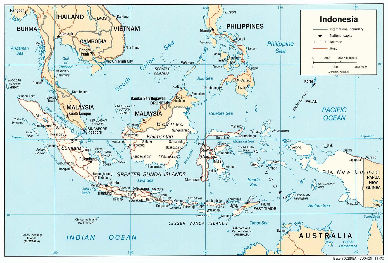 Karten Von Indonesien Mit Strassenkarte Sumatra Borneo