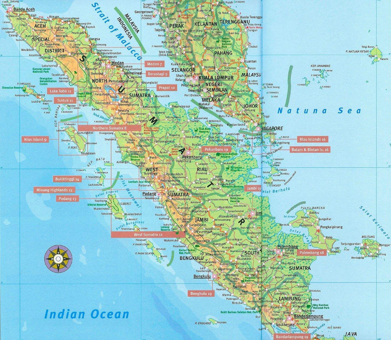 Indonesien Sumatra Strassenkarte