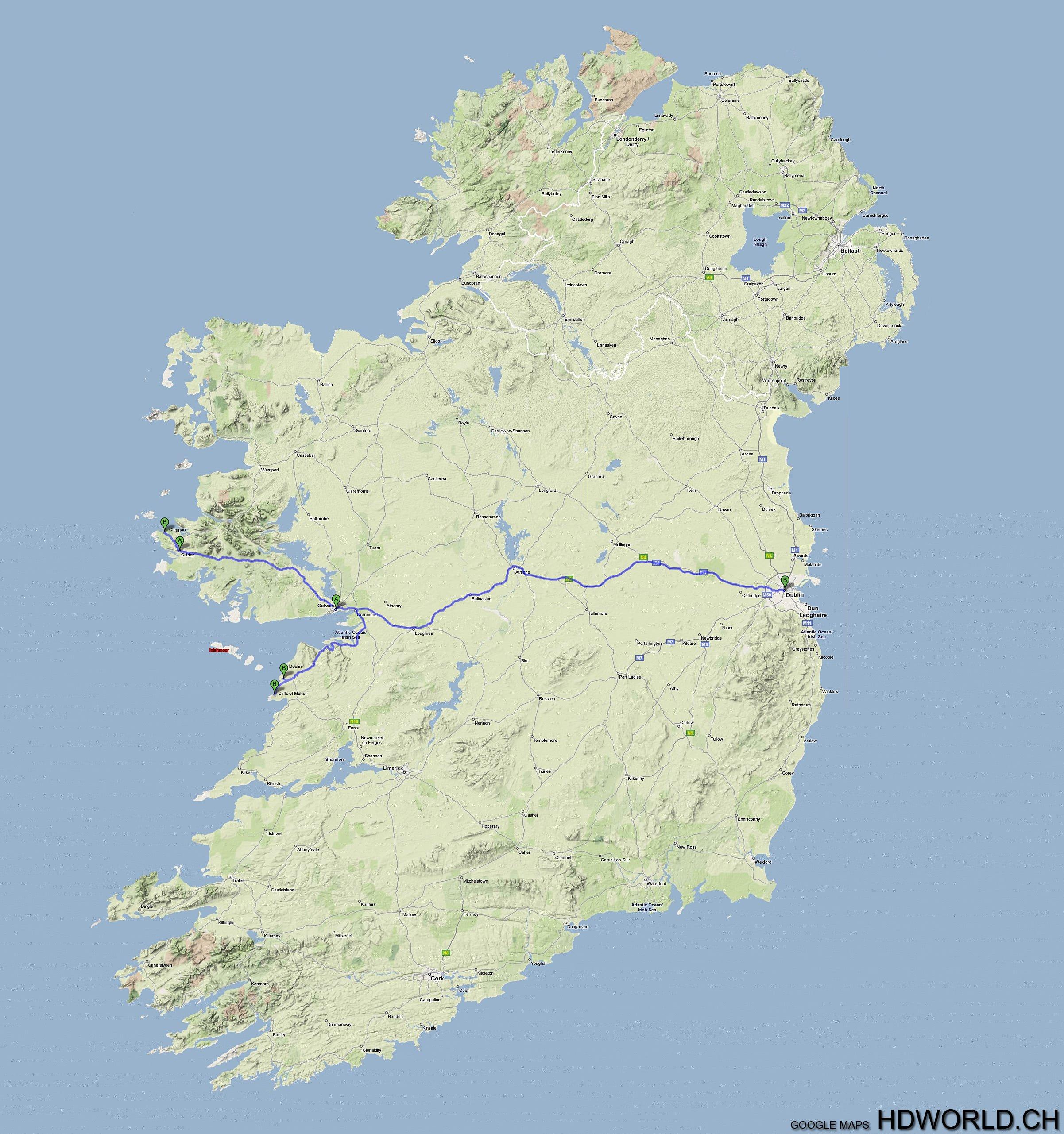 Irland Strassenkarte