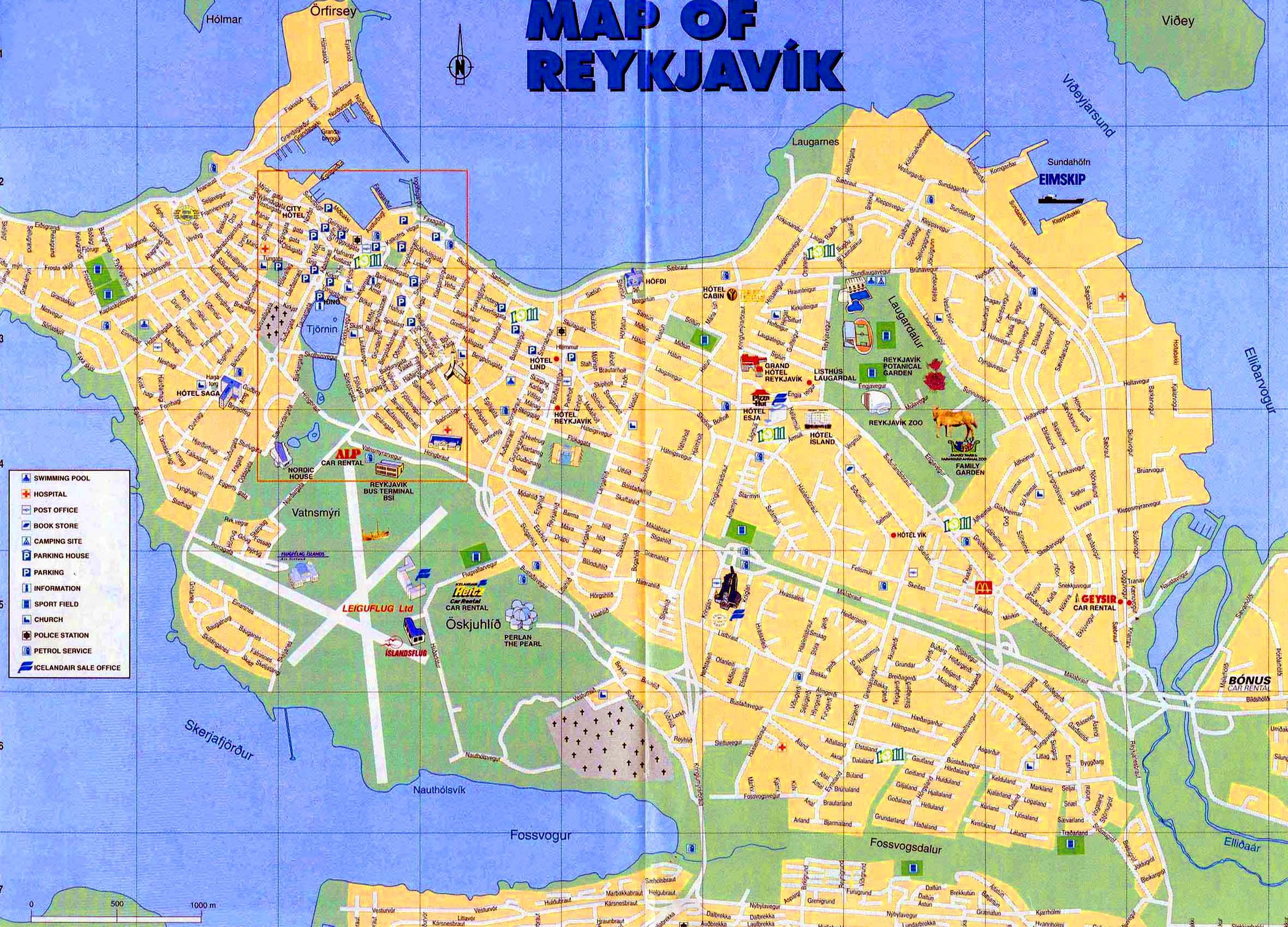 Reykjavik Stadtplan