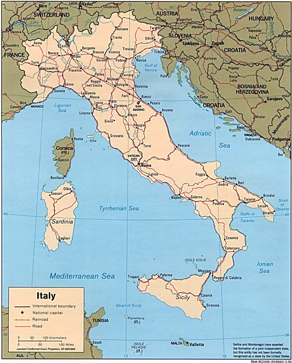 Karten Von Italien Mit Strassenkarte Von Rom Und Sehenswurdigkeiten