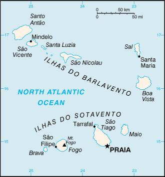 Kapverdrische Inseln Karte