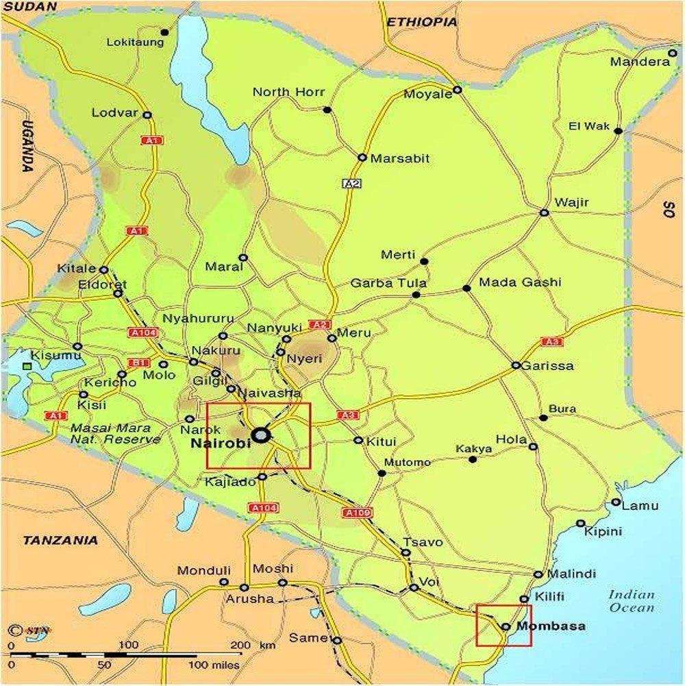 Kenia Strassenkarte