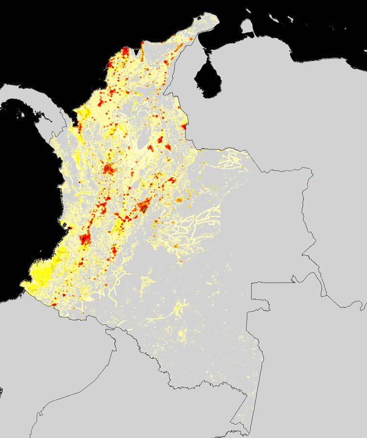 Kolumbien-Bevölkerungsverteilung