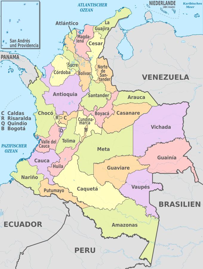 Dapartamentos von Kolumbien