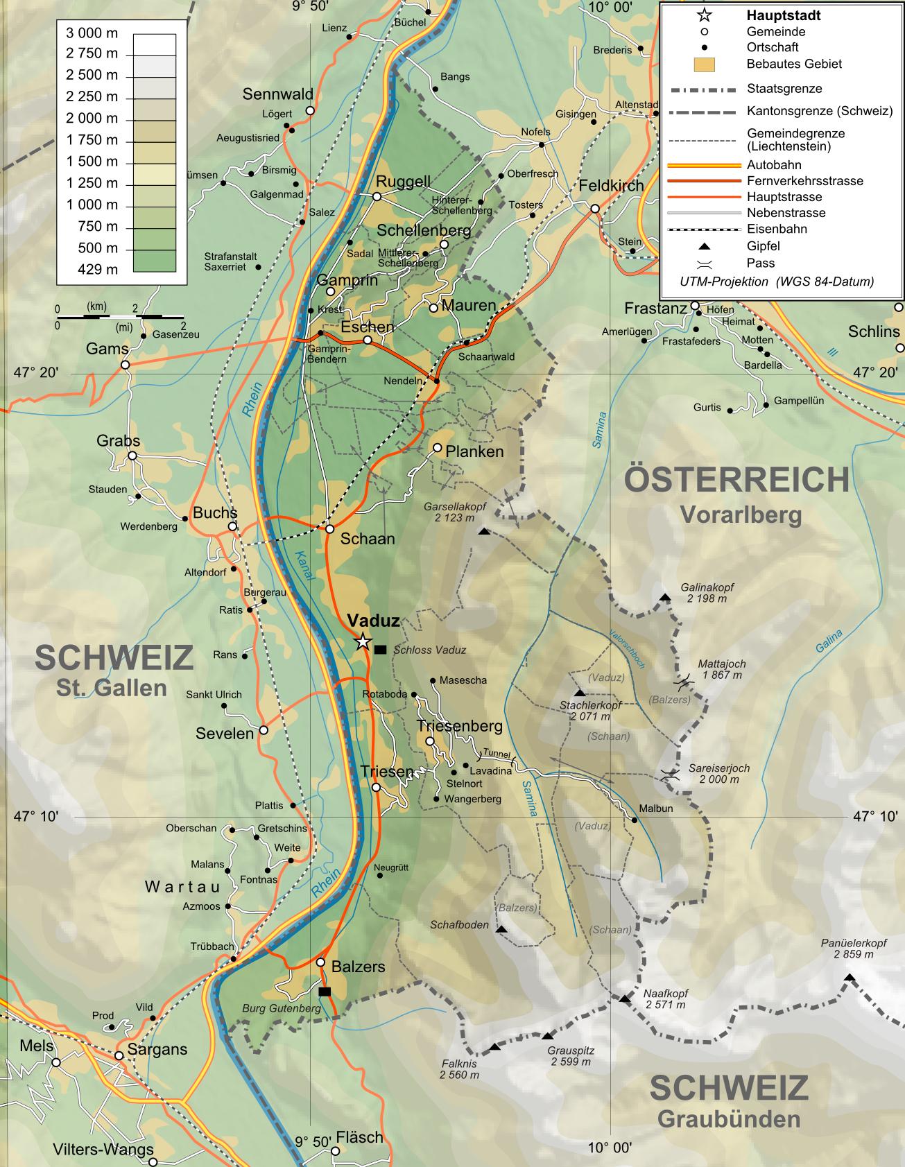 Liechtenstein Strassenkarte