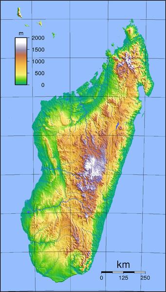 Madagaskar-Karte-Topographie