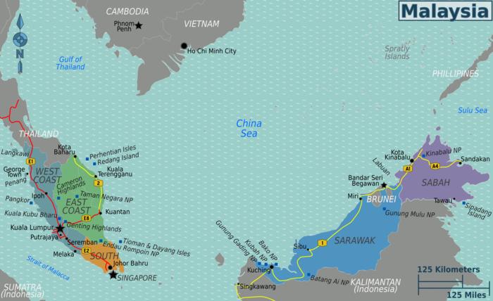 Malaysia Regionen und Straßenkarte
