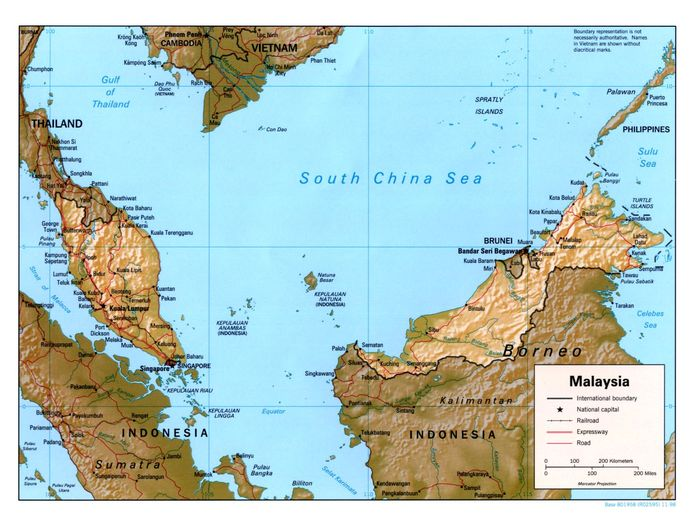 Malaysia Reliefkarte