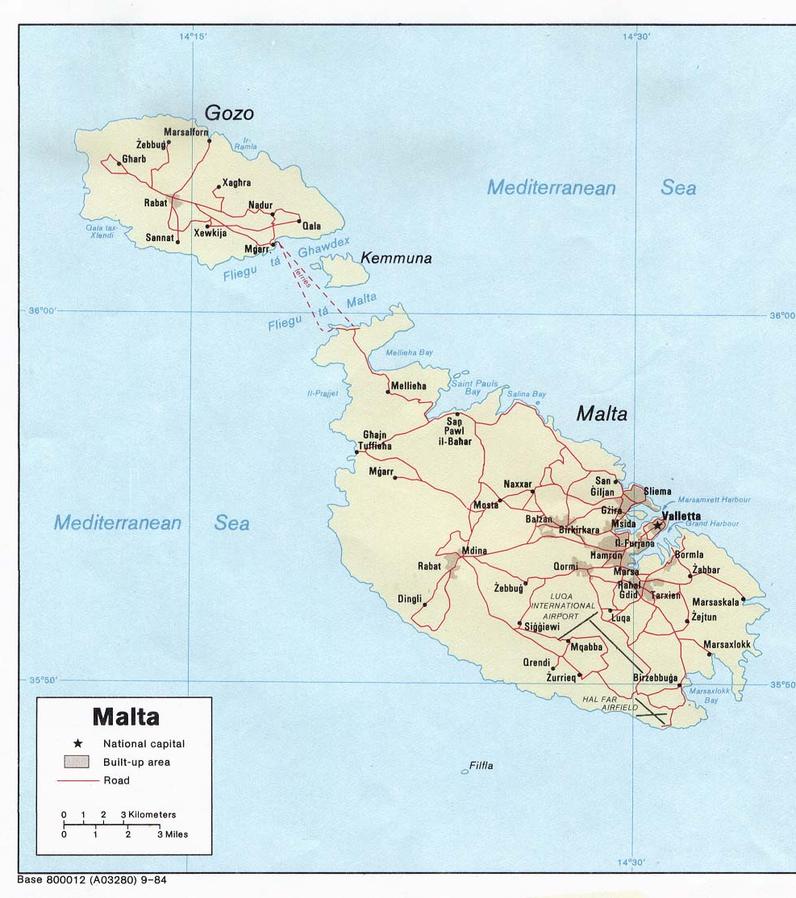 Malta Strassenkarte