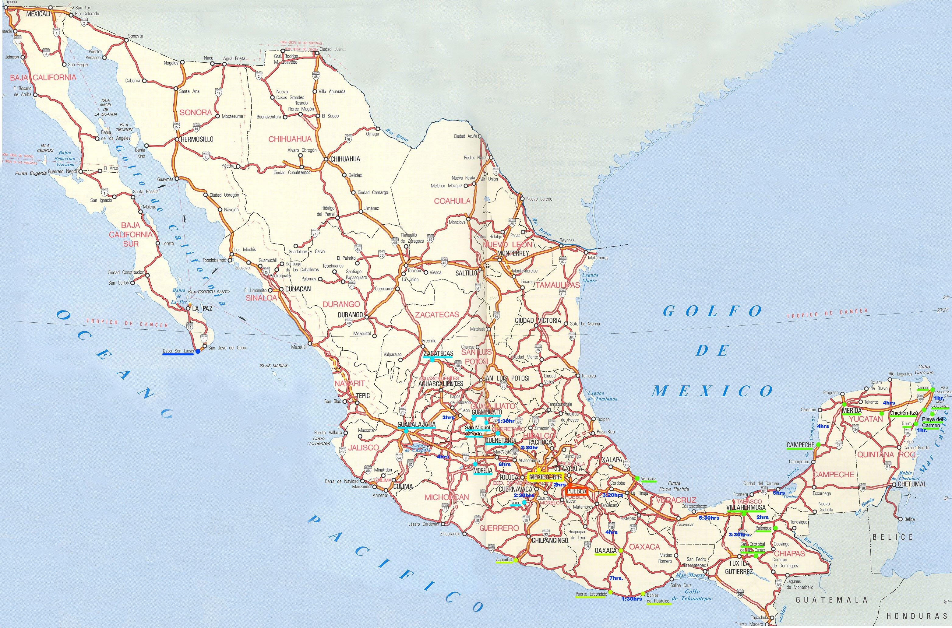Mexiko Strassenkarte