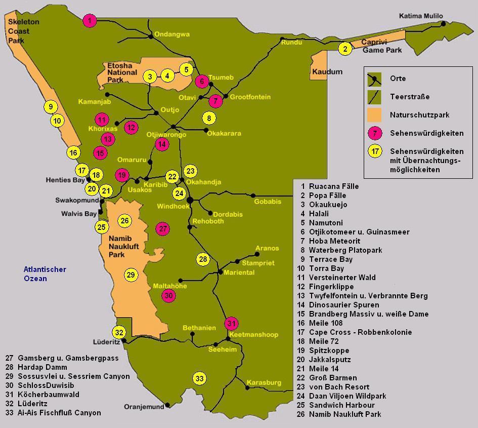 Namibia Touristen-Karte