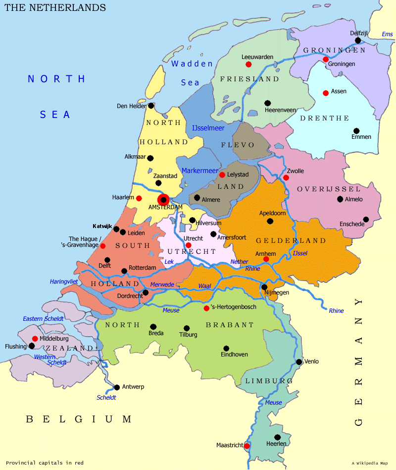 Niederlande Karte Provinzen
