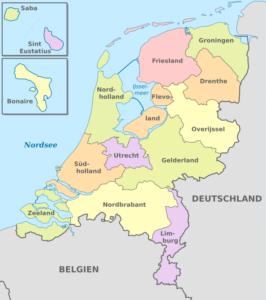 Karte der politischen Gliederung der Niederlande