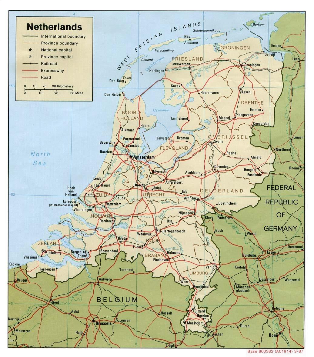 Niederlande Strassenkarte