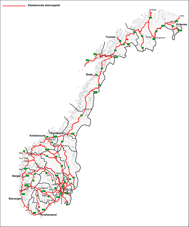 Norwegen Strassenkarte