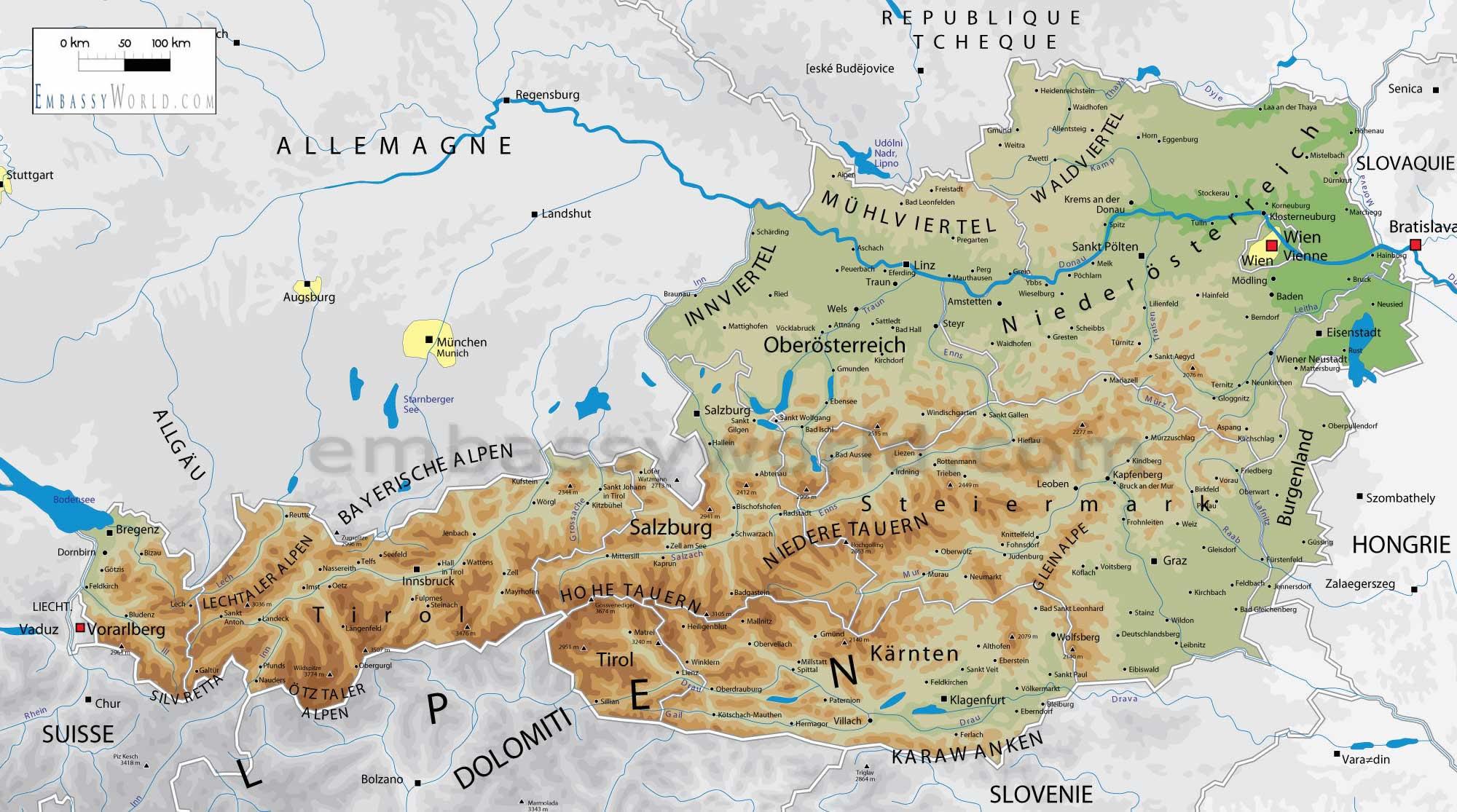 Österreich Geografische Regionen