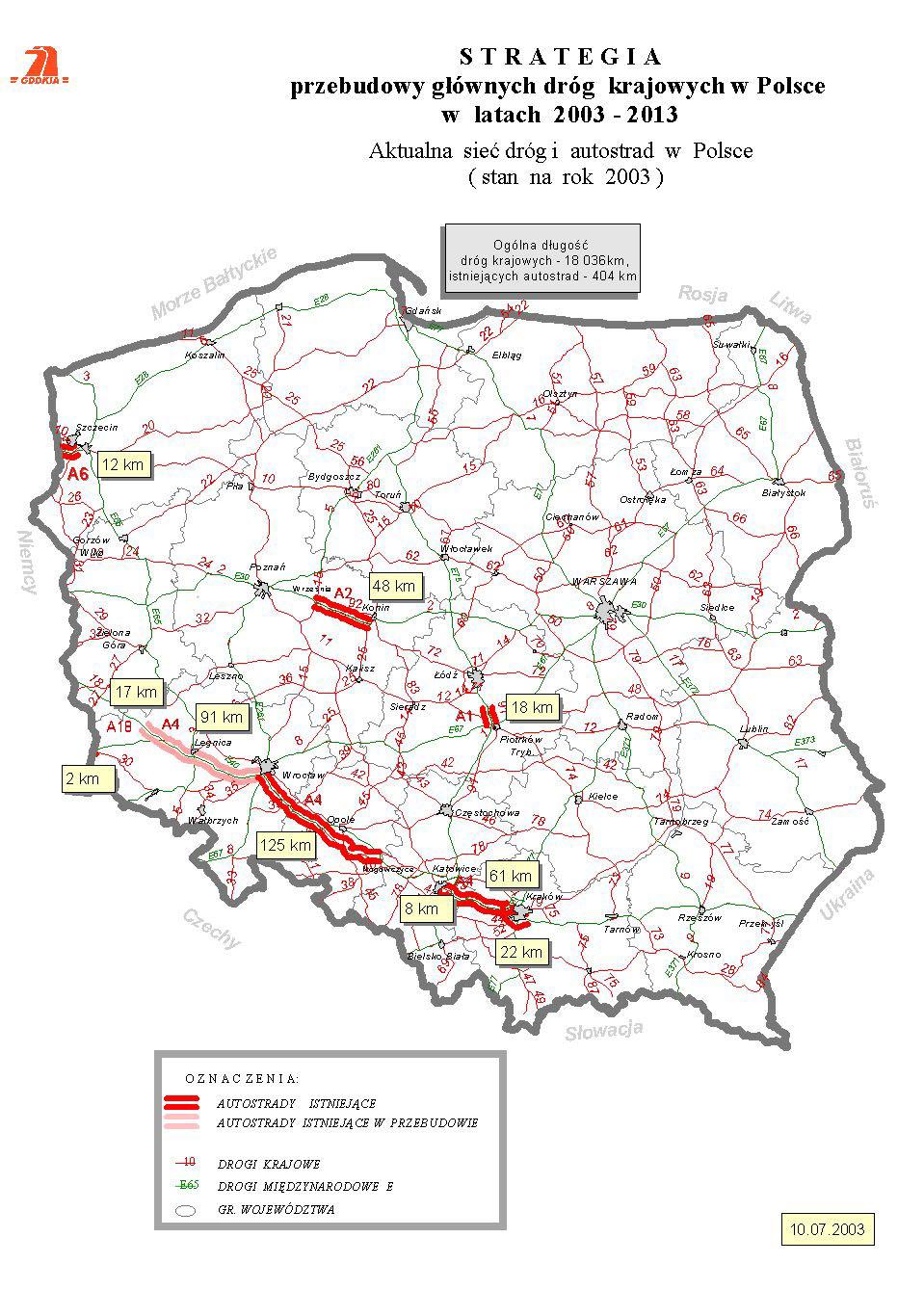 Polen Strassenkarte