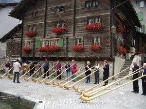 Schweiz Alphorn Spieler