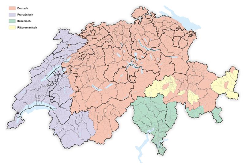 Schweiz - Sprachgebiete