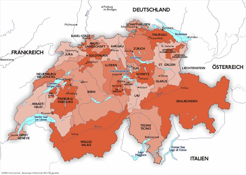 Schweiz - Verwaltungsgliederung