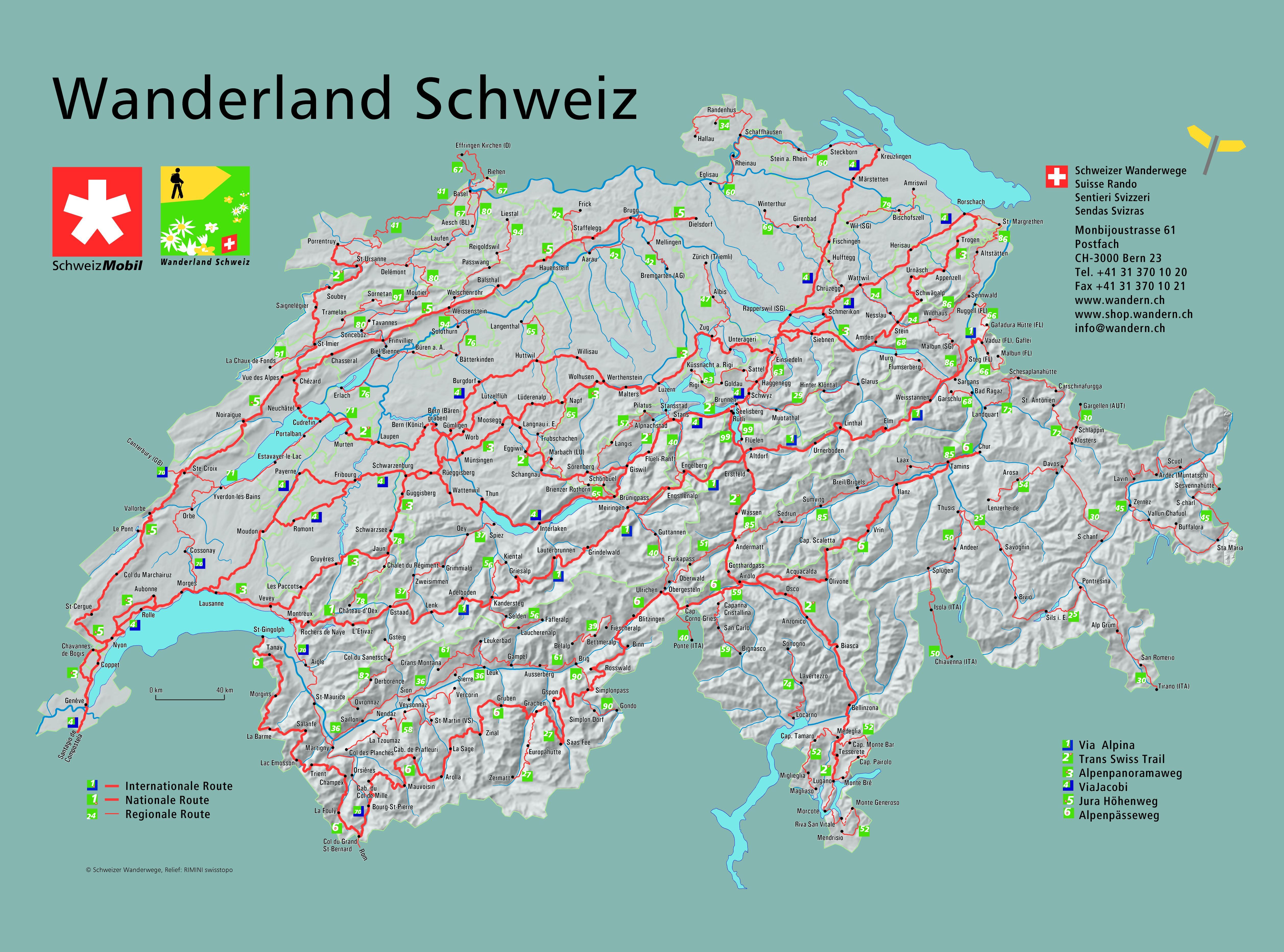 Schweiz - Wanderkarte