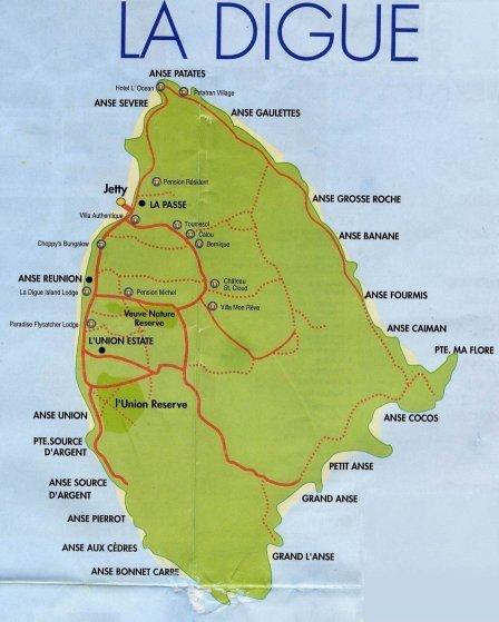 Seychellen La Digue Karte