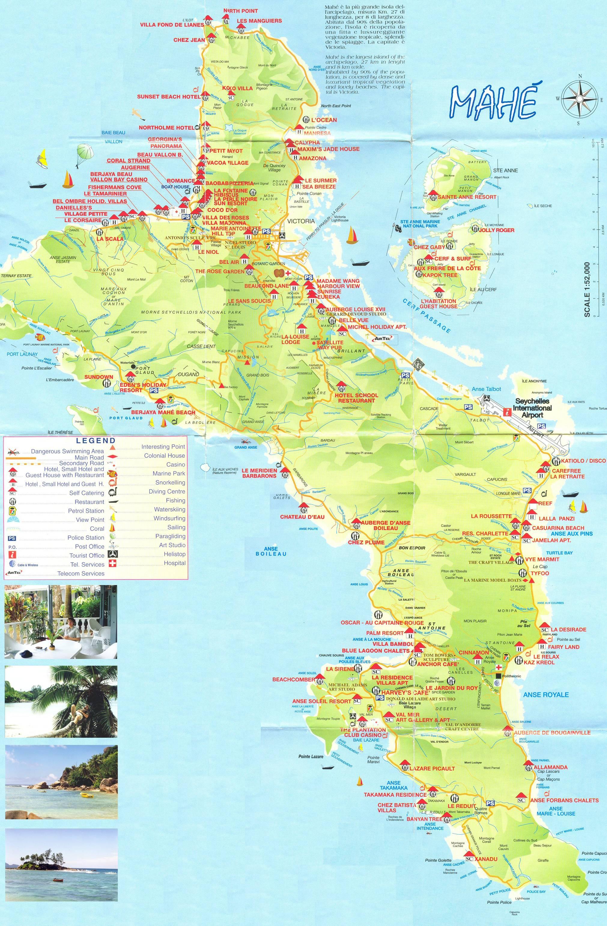 Seychellen Mahe Landkarte Strassen