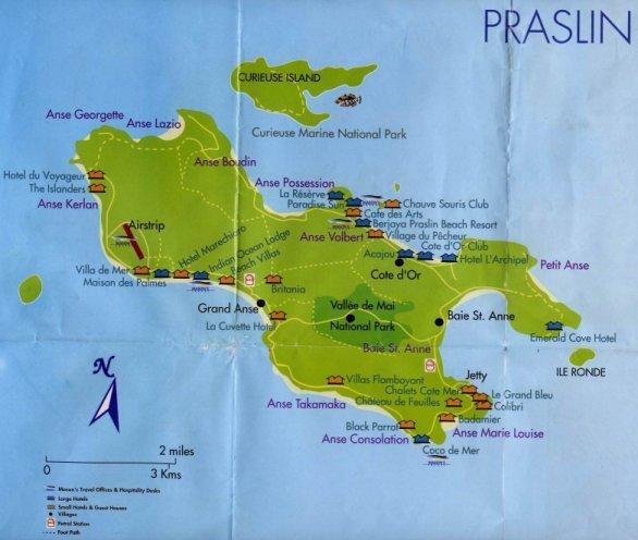 Seychellen Praslin Karte