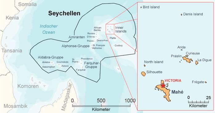 Seychellen Übersichtskarte