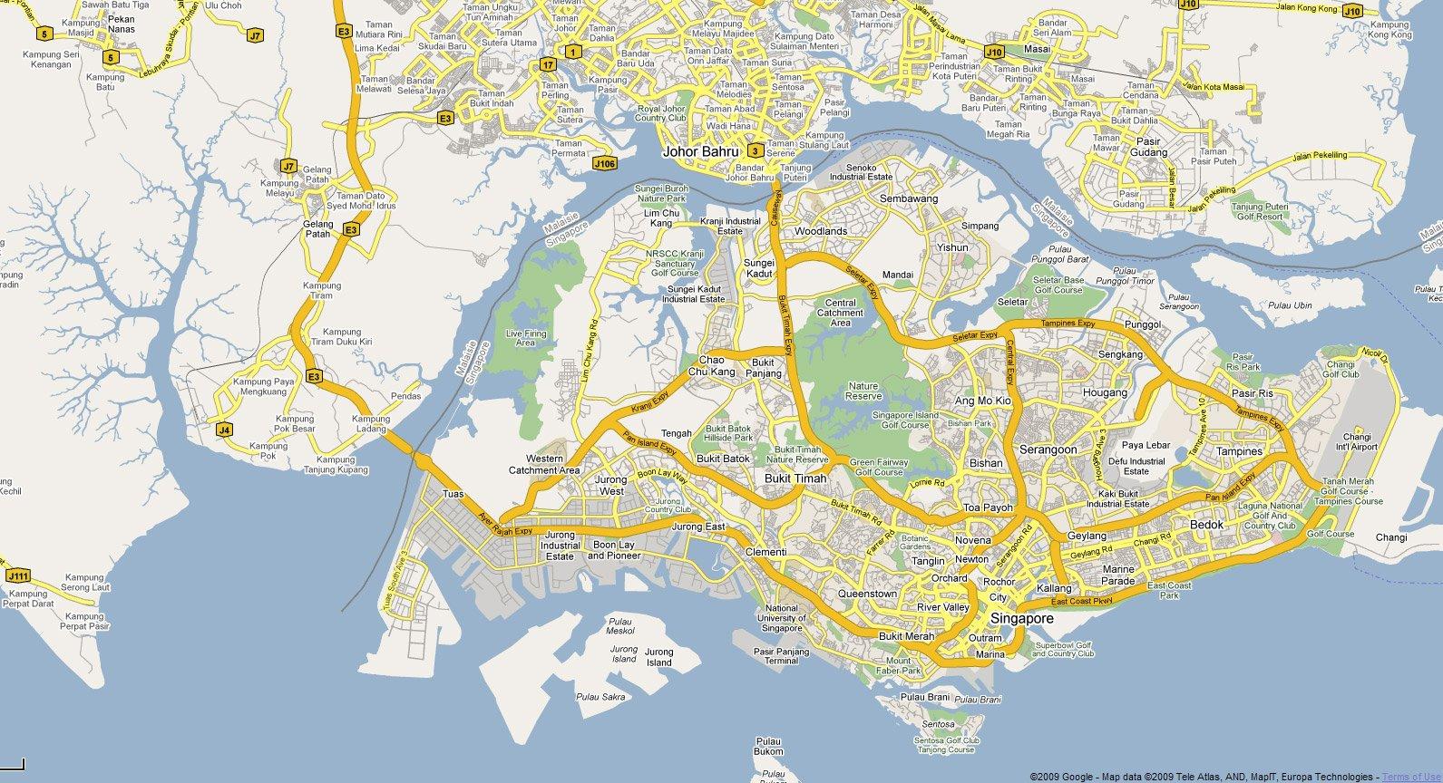 Singapur Strassenkarte