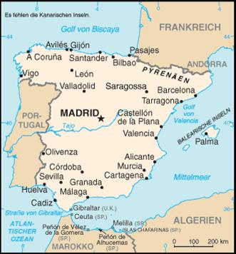 Spanien Nachbarstaaten