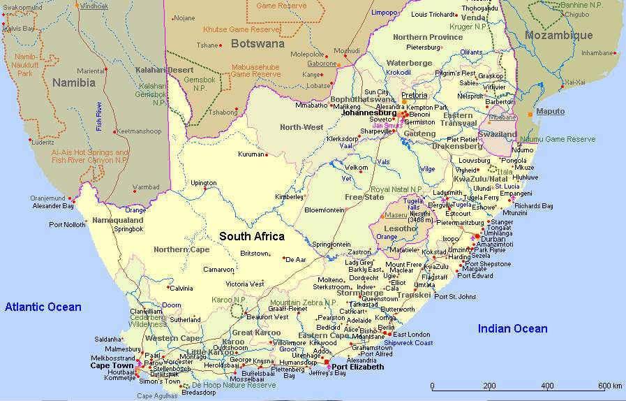 Karten Von Sudafrika Mit Strassenkarte Und Regionen